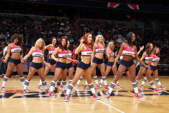 WASHINGTON, DC - MARCH 31:  The Washington Wizards dance team performs during halftime of the game against the Toronto Raptors at the Verizon Center on March 31, 2013 in Washington, DC.  (Photo by Ned Dishman/NBAE via Getty Images)